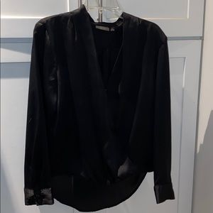 Poly black v neck inside button blouse